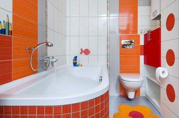 Une salle de bains r serv e aux enfants inter distribution for Accessoires salle de bain couleur orange